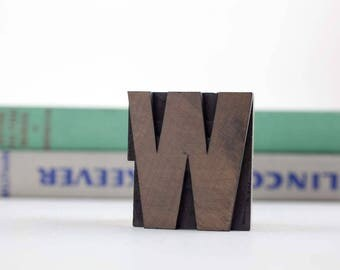 Vintage Letterpress Wood Type Letter W, Printing Block Stamp, Wood Letter, Printers Type Stamp, Typography, Industrial, Salvage, Uppercase W