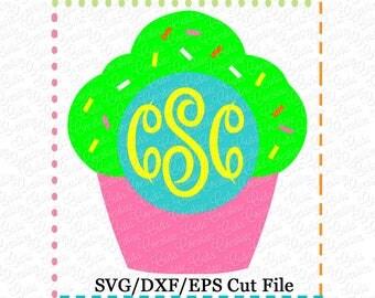 Cupcake Monogram SVG Cutting File, cupcake svg, cupckae cut file, monogram cut file, monogram svg, birthday svg, birthday cut file