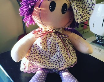 handmade rag doll - personalised embroidered message available