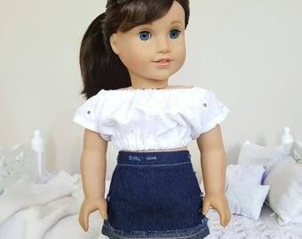 18 inch doll denim skirt. Dark wash and distressed.