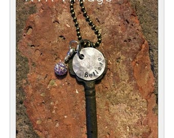 Antique Inspirational Skeleton Key Necklace - BELIEVE