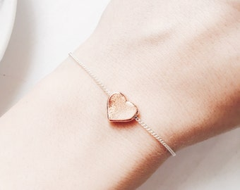 Rose Gold Heart Bead Bracelet | Heart Layering Bracelet | Gift Idea | Boho Jewelry