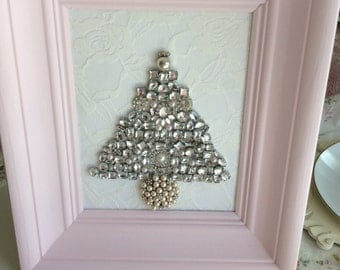Rhinestone Christmas Tree in Pink Wood Frame