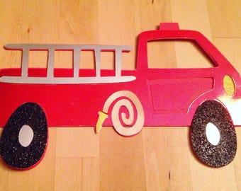 Handmade Silhouetted Firetruck Card - Blank Inside!