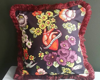 Love of my loves cushion with swallow heart and hand detail. 14cm x 14cm