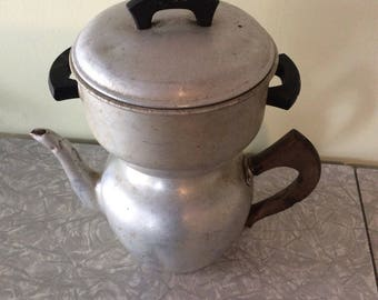 Vintage Aluminum  Wear-Ever Coffee Pot with Wood Handles