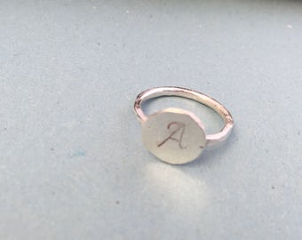 Sale!!!Stacking ring,stacking ring from silver with initial leather, ring with initial letter hand made personalized ring