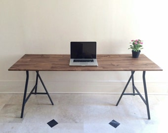 Large Desk, Hand-finished Wood and Metal Table on Ikea Legs, Small Desk, Dining Table, Wood and Metal. NEW! Choose any size. Free Shipping!