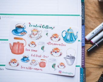 Tea time - decorative watercolour planner stickers suitable for any planner -273-