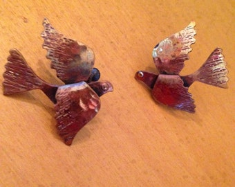 Copper Screw Back Dove Earrings