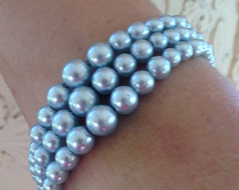 Vintage Blue Faux Pearl 1960's Bracelet