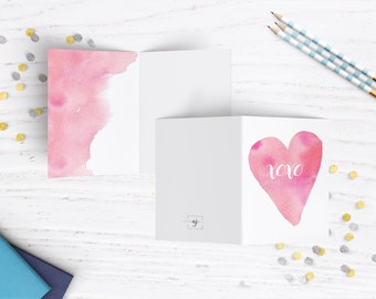 Press Printed Watercolor Greeting Card, Valentines day card, romantic, love greeting card, blank love card, love cards, blank inside card