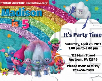 Trolls Birthday Invitation, 5x7, 4x6, DIGITAL file - free thank you card w/ purchase for a limited time only!