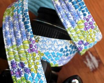 Camera Strap, dslr camera strap, modern camera strap, gift for her, camera holder, blue floral camera strap, nikon, canon, slr, birthday