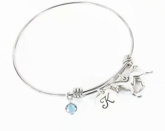 Horse Initial Birthstone Hand Stamped Bracelet Bangle, Equestrian Bracelet, Pony Bangle with Horse Charm and Swarovski Crystal Birthstone