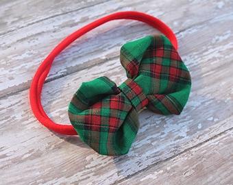 Christmas plaid fabric headband - holiday Fabric bubble bow -  hair bow - simple Fabric Bow - Nylon headband - holiday headband - bubble bow