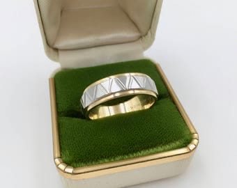 Estate 18K Yellow Gold and Platinum Two Tone Eternity Wedding Ring Band