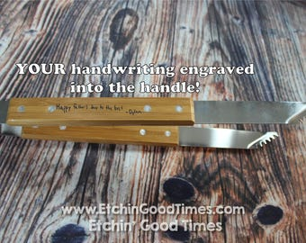 BBQ Fork - Personalized Handwriting Grill Tongs, BBQ Tools, Mothers day  Fathers day, Groomsmen