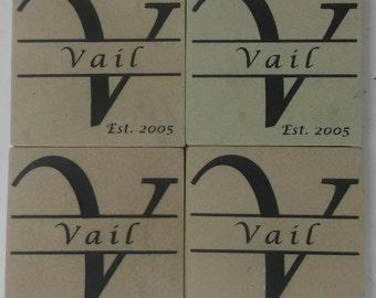 Personalized Stone Coaster Set of 4 Sandblast Engraved