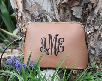 Monogram Crossbody Bag / Leather Purse / Leather Bag / Shoulder Bag / Embroidered Clutch Purse / Preppy Cross body Bag