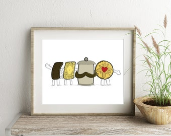 Biscuit Print, Kitchen Art, Biscuit Illustration, Food Drawing, Bourbon Wall Art, Jammie Dodger Picture, Wall Art for the Home, Biscuit Gift