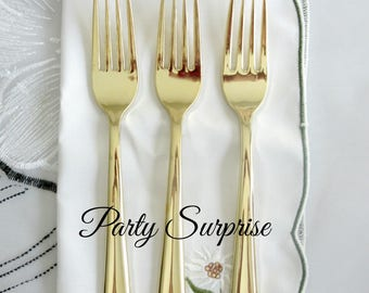Gold Disposable Forks Shiny Metallic Gold Forks Party Cutlery Heavy Weight It Looks so Real! Gold Plastic Forks Wedding Shower Forks