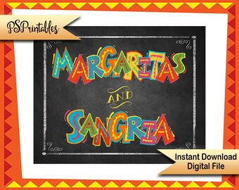 Printable Wedding sign, Margaritas and Sangria Fiesta Party sign, Cinco De Mayo Decoration, taco party sign mexican bar sign Fiesta bar sign