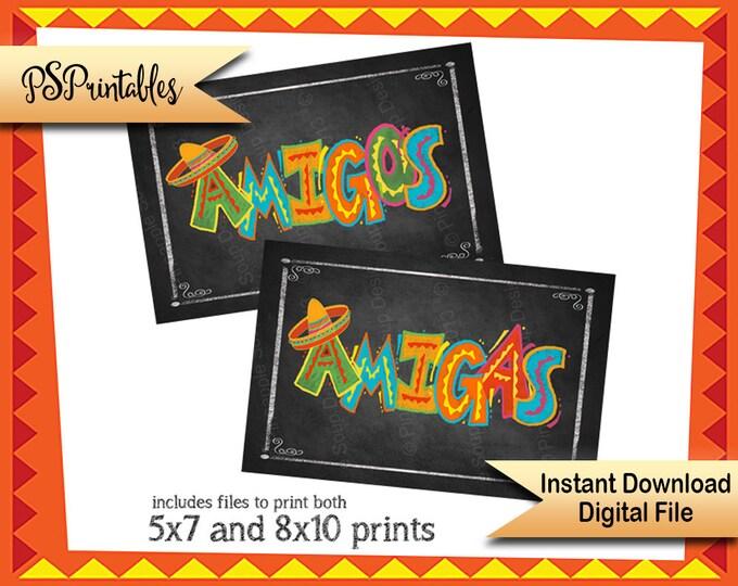 Fiesta Sign, Taco Party Decorations | PRINTABLE Fiesta Bathroom signs, Amigos Amigas Mexican Fiesta Signs, Fiesta Party, Fiesta Decorations