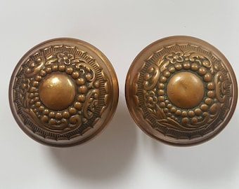 Russel & Erwin Antique Doorknob Set Solid Brass With Flowers E0064