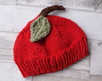Baby Hat - Baby Apple Hat - Knitted Baby Beanie - Red Apple - Photo Prop - Pomme - 100% Cotton Hat -  Apfel - Newborn Hat