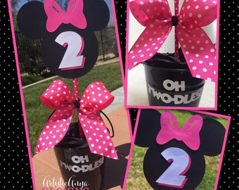 Minnie Mouse Centerpieces - Hot Pink Polka Dot Ribbon Bow & Black Metal Pails (Set of 5) - Pink Fuchsia Black White - Oh Twodles