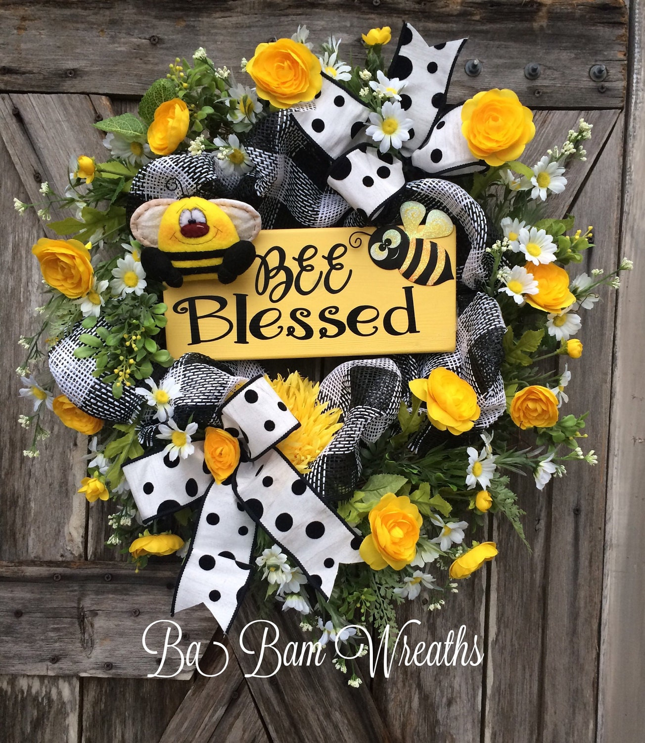 Summer wreath summer decor summer door everyday wreath bee for Bee decorations for the home