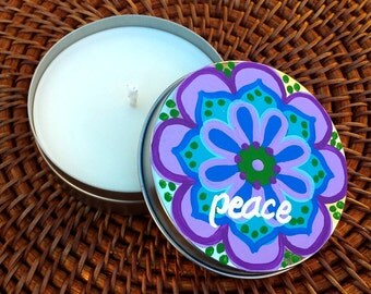 Candle Tin - All Natural Soy Wax 4 oz. Candle with Original Artwork Intention - Peace