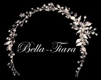 bridal crystal hair vine, bridal light ivory hair vine, champagne crystal hair vine, crystal hair vines, bridal vine headband