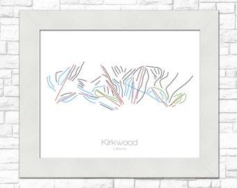 Kirkwood Map California CA Ski Snowboard Trail Art --- Print, Poster, Picture --- Frame, Gift, Present --- Resort, Mountain, Snow, Winter