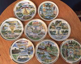 Tiny Souvenir State Plates, Georgia Tennessee Oklahoma New YorkWashington Niagara Falls Yellow StoneCape Cod