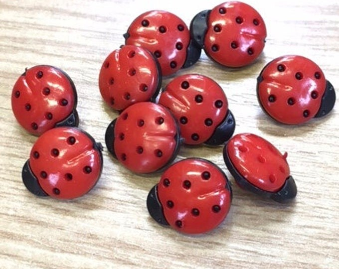 Pack of 10 Ladybird, Ladybug Buttons,  Plastic, Child , Baby Buttons, Shank Buttons, Sewing, Scrapbook,  17 mm,  7/16 Inch