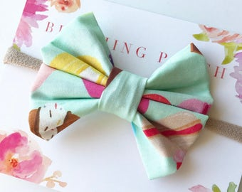 Mint Sweets Bow Headband - Baby Headband -  Fabric Bows - Baby Bows - Handmade Bows - Baby Shower Gift - Toddler - Infant - Newborn