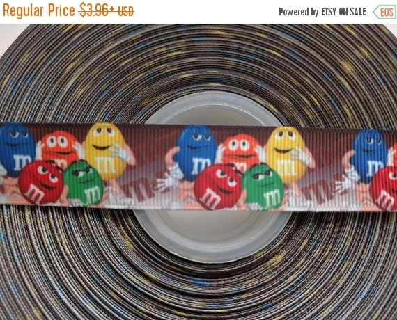 "HOT DEAL CANDY M&M'S 7/8"" 22mm Grosgrain Hair Bow Craft Ribbon 782813"