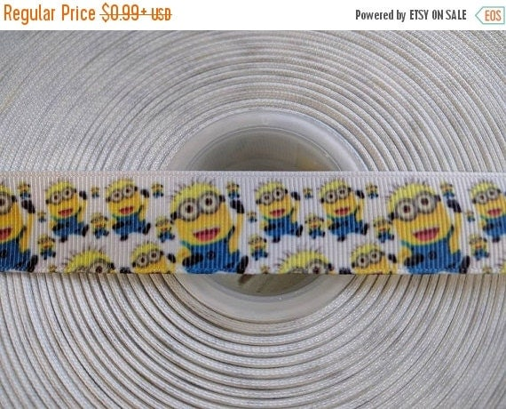 "SUPER SALE MINION Jerry Inspired 7/8"" 22mmGrosgrain Hair Bow Craft Ribbon 782977"