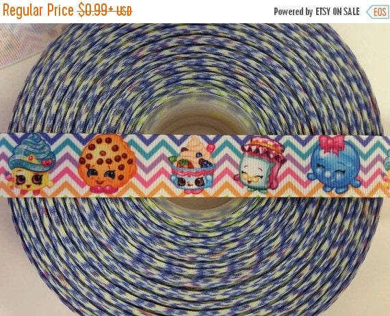 "SUPER SALE SHOPKINS Inspired 7/8"" 22mm Grosgrain Hair Bow Craft Ribbon 782189"