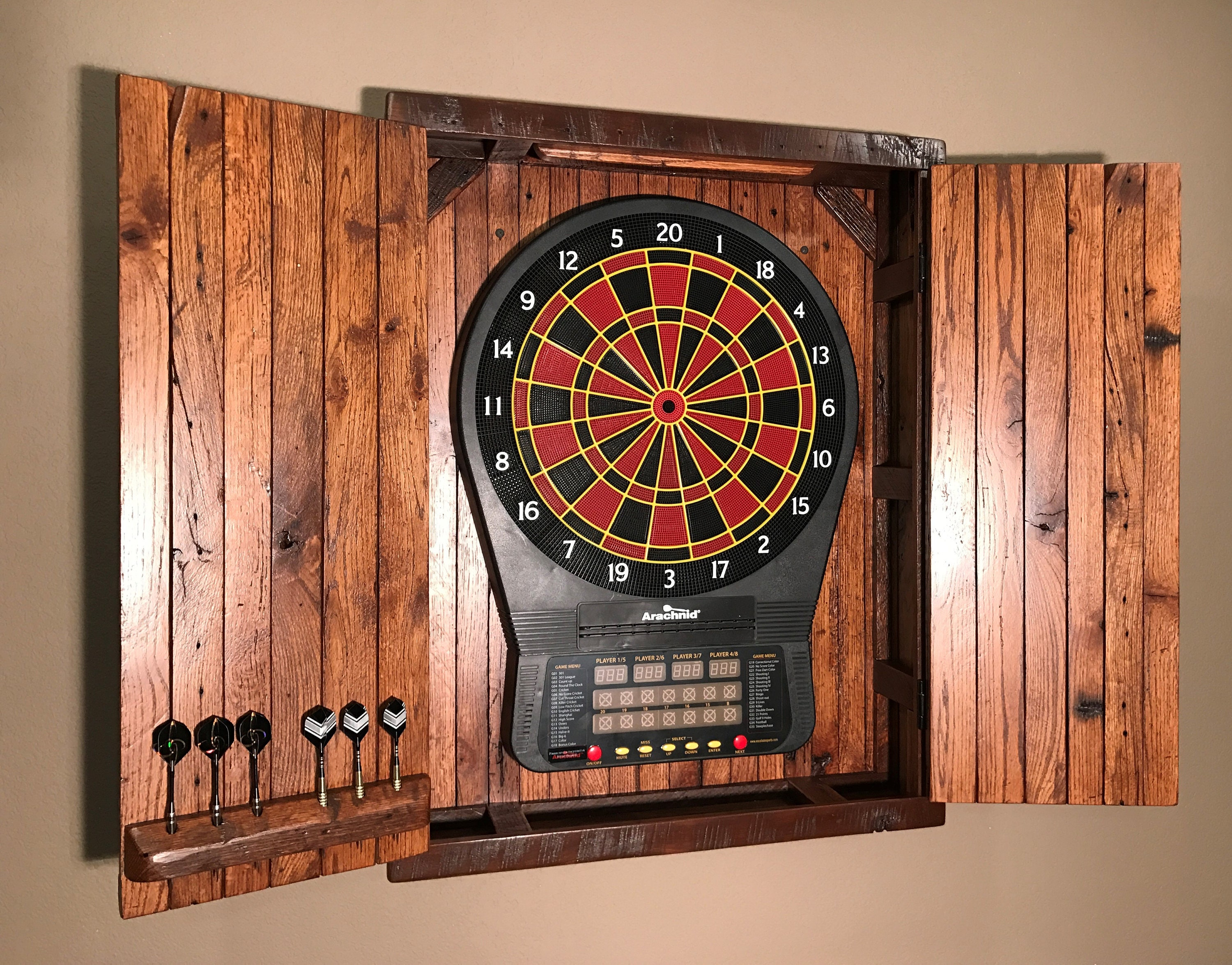Large Electronic Dartboard Cabinet Reclaimed Barn Wood