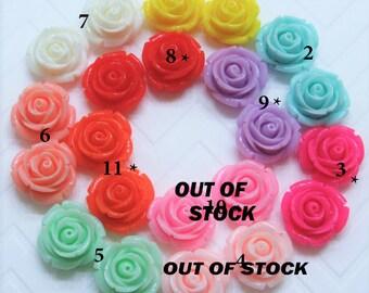 QTY 10 Rose beads 20mm Chunky Rose  beads Chunky rose necklace beads resin Flower Beads rose necklace beads chcunky rose flower beads