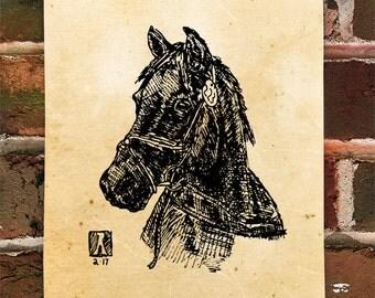 KillerBeeMoto: Limited Hand Drawn Print of Quarter Horse Head Shot