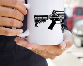 KillerBeeMoto:  U.S. Made M4 Carbine Battle Rifle On A Coffee Mug