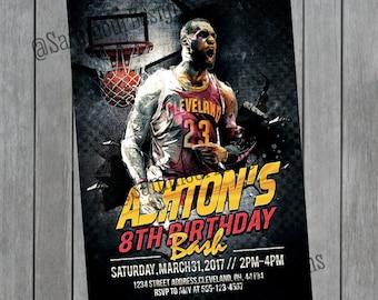 Basketball Birthday Invitation - Cleveland Cavs - Cleveland Cavs Birthday - Basketball Invitation - Sports Birthday Invitation