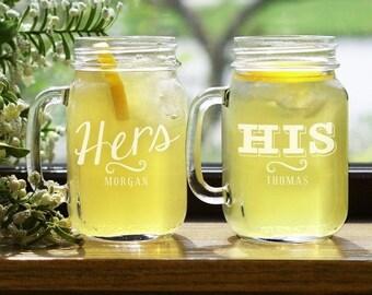 Personalized His and Hers Mason Jars, Couples Mason Jars
