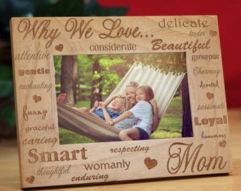 Personalized Frame, Engraved Mothers Wood Frame
