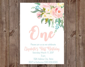 Floral Birthday Invitation Custom Option Printable