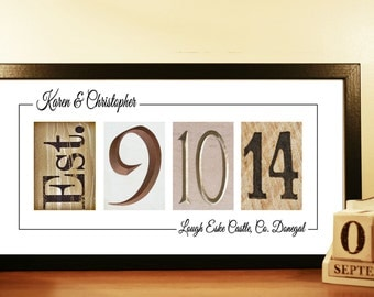 WEDDING DATE ART - unframed, Wedding Date Signage, Wedding Date Numbers, Personalised Wedding Gift Idea